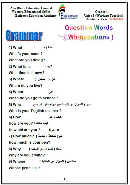 مراجعة  (Grammar) للصف الرابع