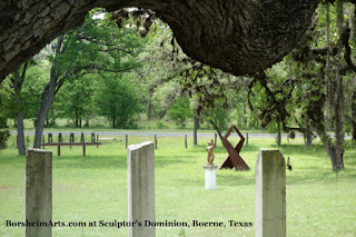 Gemini bronze sculpture on exhibit in ranch in Boerne Texas Sculptors Dominion Barrera Family