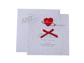 wedding invitations with red hearts