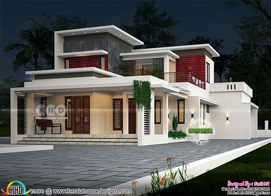 1980 sq-ft flat roof modern contemporary 3 BHK house