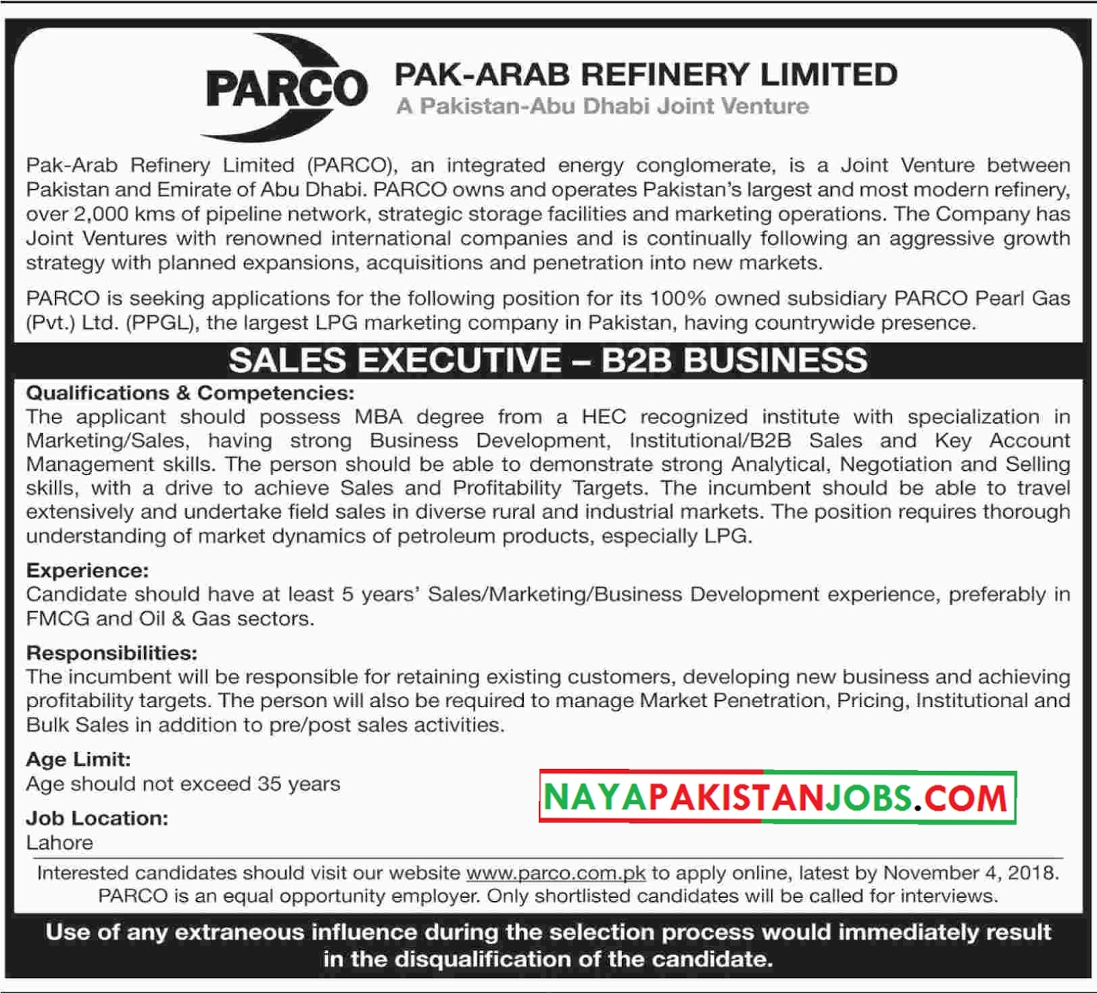 Latest Vacancies Announced in Pak Arab Refinery Limited PARCO 22 October 2018 - Naya Pakistan