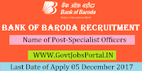 Bank of Baroda Recruitment 2017– 427 Specialist Officers