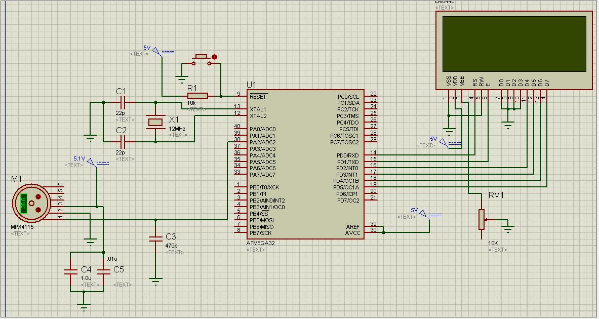 Barometer using MPX4115 and Atmega 32 | electronics