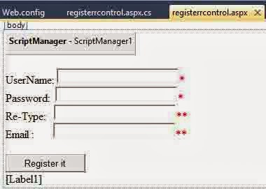 Design view of register control
