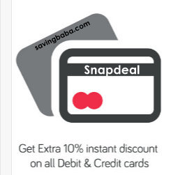 Snapdeal 10% off on Rs 7500 on all Credit/ Debit Cards