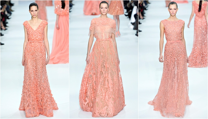 Haute Couture spring 2012 Elie Saab coral pink long lace dresses