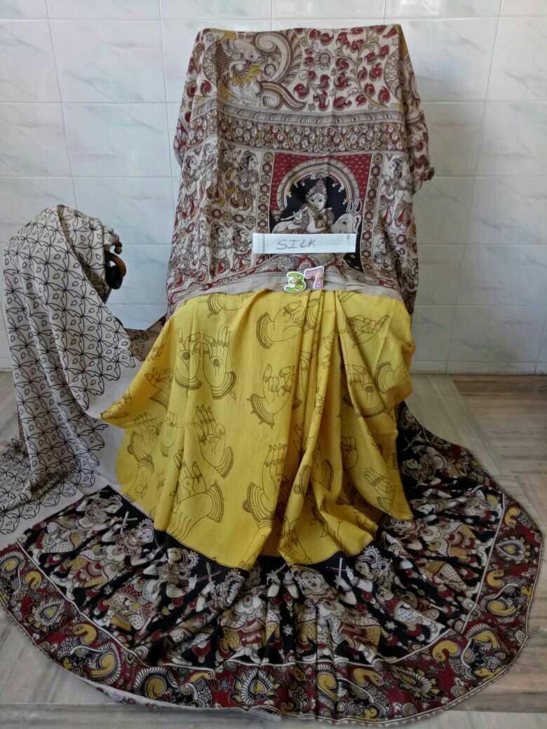 Kalamkari Silk Cotton Sarees Klamakri Sarees Online