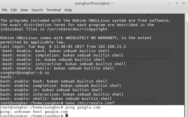 Mengatasi Server ga bisa ping google com ~ Mfthlhuda blog