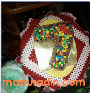 cara mudah menghias kek, nombor 7, deco kek, langkah-langkah, bahan-bahan, kek coklat