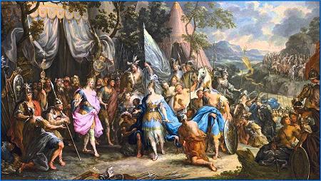 Talestris, Alejandro, campamento, amazonas, Hircania, Johann Georg Platzer