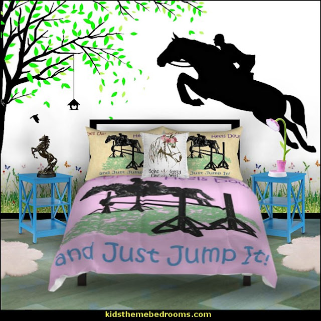 horse jumping bedding  horse theme bedroom - horse bedroom decor - horse themed bedroom decorating ideas - Equestrian decor - equestrian themed rooms - cowgirl theme bedroom decorating ideas - Dressage Wall Decals - English riding theme - equestrian bedding - Horse Riding bedding - horse stuff for your bedroom -