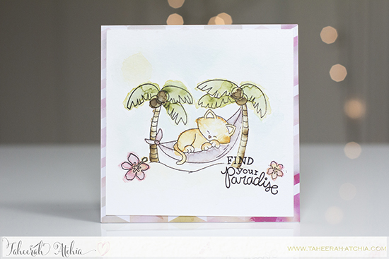 Kitty in Paradise card by Taheerah Atchia | Aloha Newton Stamp set by Newton's Nook Designs #newtonsnook