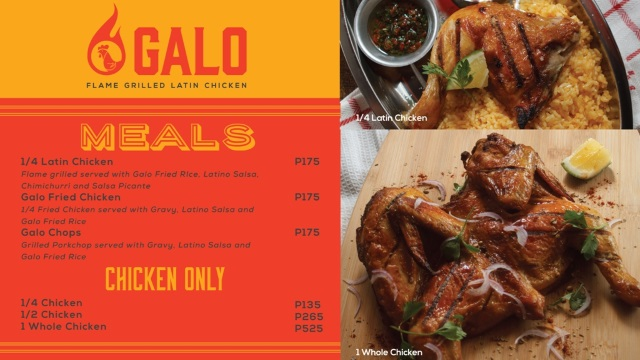 Menu of Galo Flame Grilled Latin Chicken at the Venice Grand Canal Mall McKinley Hill