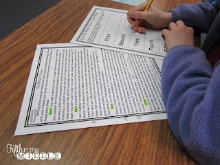 Student completing second read close reading activity