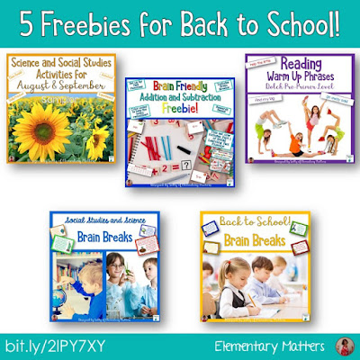 Five Freebies for Back to School - This includes brain breaks, Science, Social Studies, literacy, and math freebies for second grade.