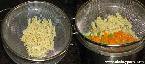 pasta and vegetable boiled and drained