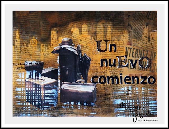 """Composición mixed media del tema """"Maletas"""" por Myriam Zapata"""