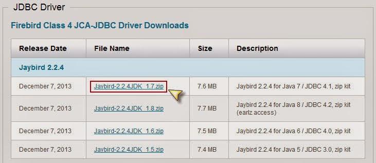 Descargar JDBC Driver de Firebird