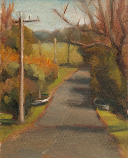 Oil painting of a road leading up a hill with trees and telephone poles.