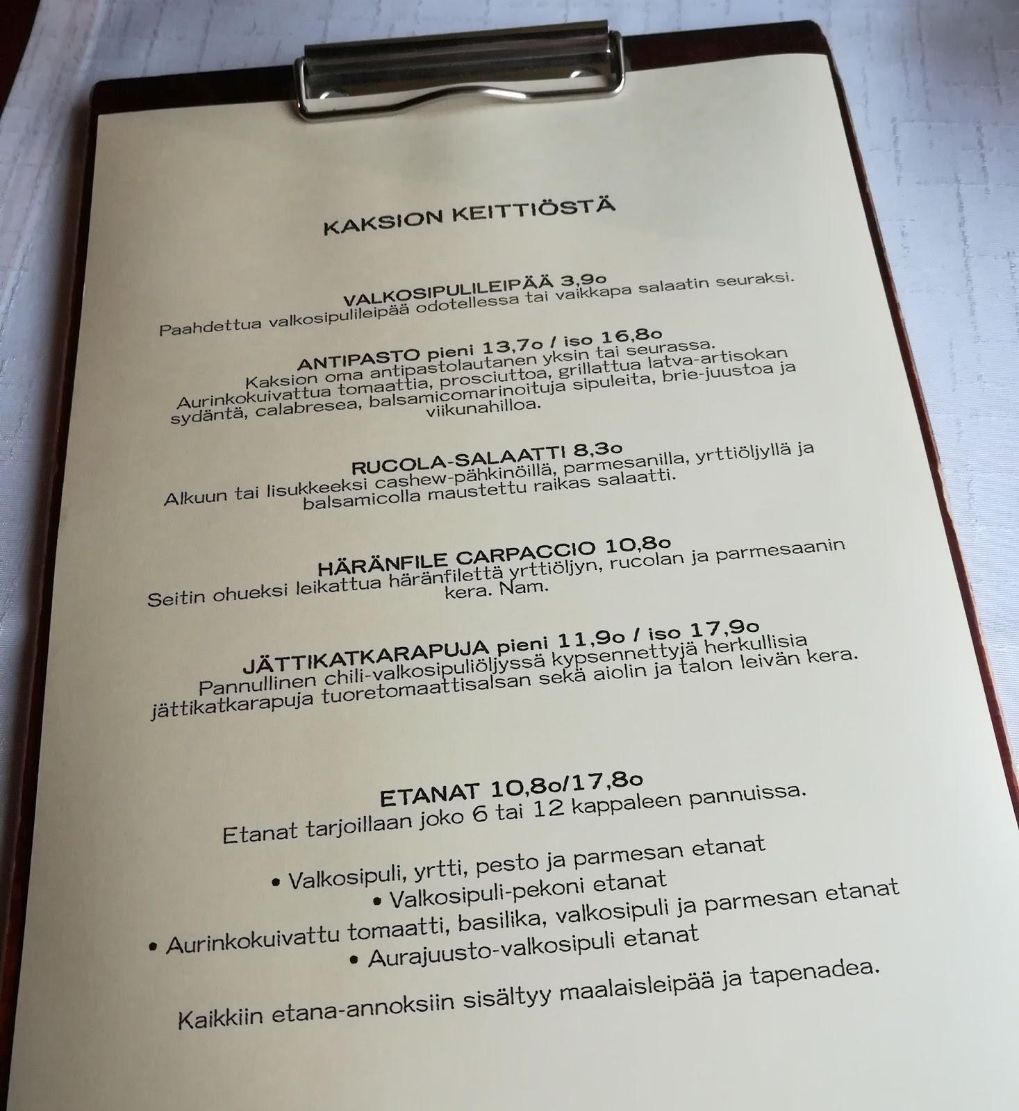 2h+k kaksio tampere ravintola arvostelu mallaspulla maistelee ruokablogi menu