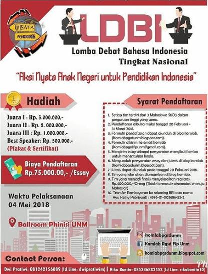 Lomba Debat Bahasa Indonesia Tingkat Nasional 2018