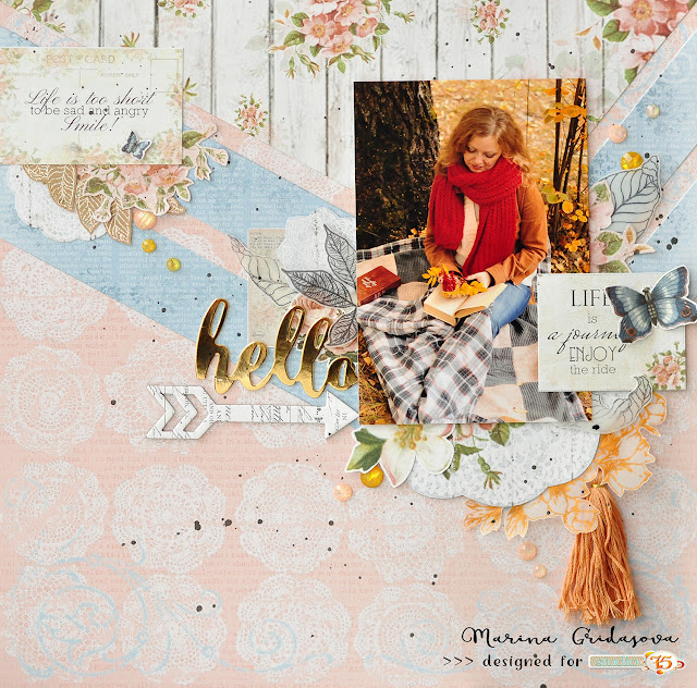 Life is a journey layout by Marina Gridasova @akonitt #layout #studio75 #secretgarden #fussycutting #scrapbooking #papercrafting #by_marina_gridasova
