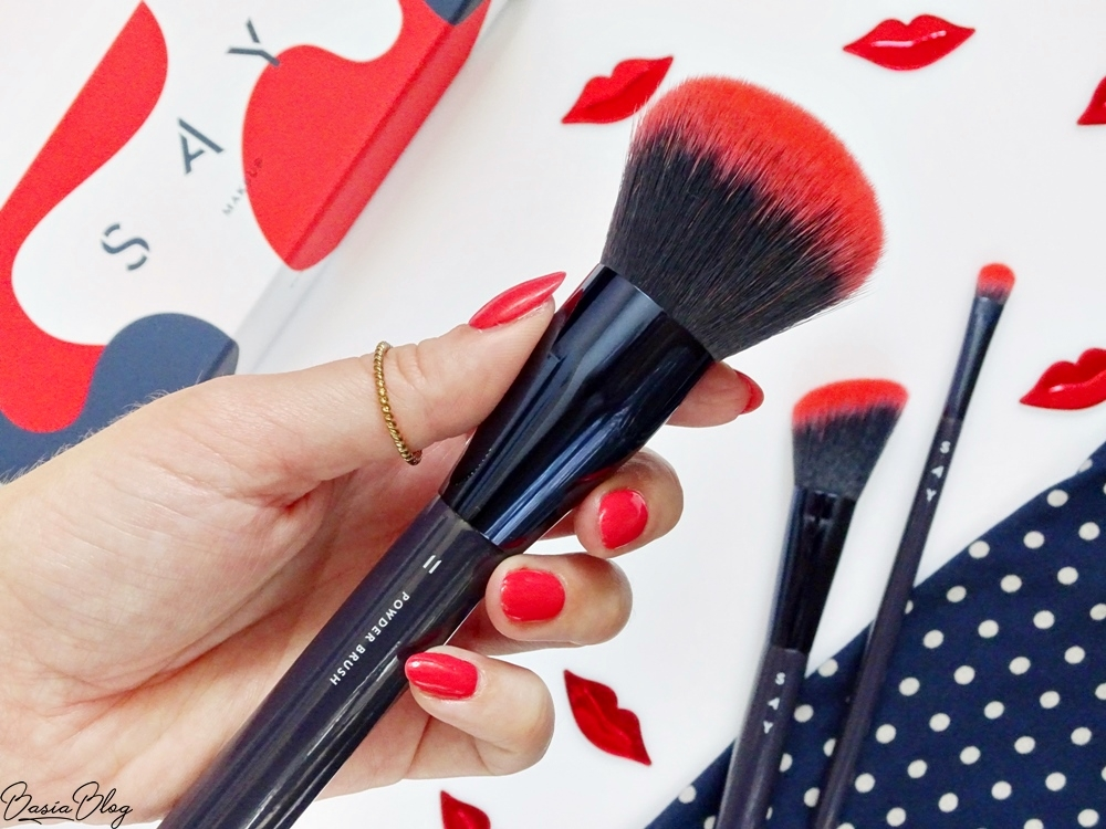 SAY Makeup pędzel do pudru POWDER BRUSH, syntetyczny pędzel do pudru, miękki pędzel do pudru