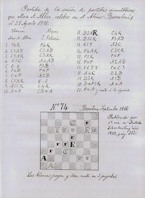 Segunda planilla manuscrita en su libro de la sesión de simultáneas que Max Adolf Albin dio en Barcelona el 9 de agosto de 1910
