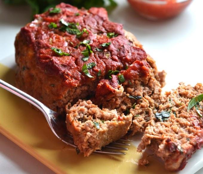 Tomato Basil Turkey Meatloaf #whole30 #paleo