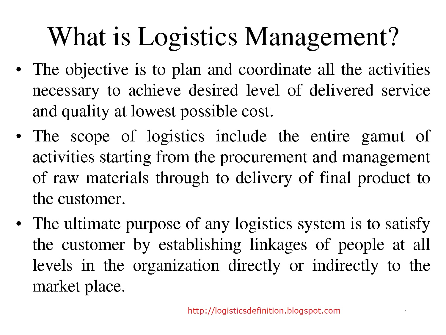 Logistics Definition, Glossary Jobs Management as it is