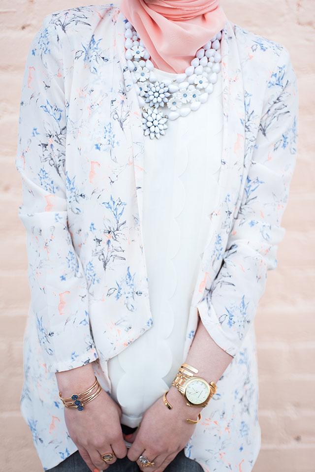 Floral Blazer - Spring Look - B. Willow Baltimore - Pink Heels - Urban Expressions Jasmine Bag - Bauble Bar Cuff - Hijabi Fashion - Stila Venezia Lipstick - Haute Hijab - Baltimore Blogger