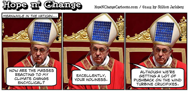 obama, obama jokes, political, humor, cartoon, conservative, hope n' change, hope and change, stilton jarlsberg, pope, climate change, encyclical