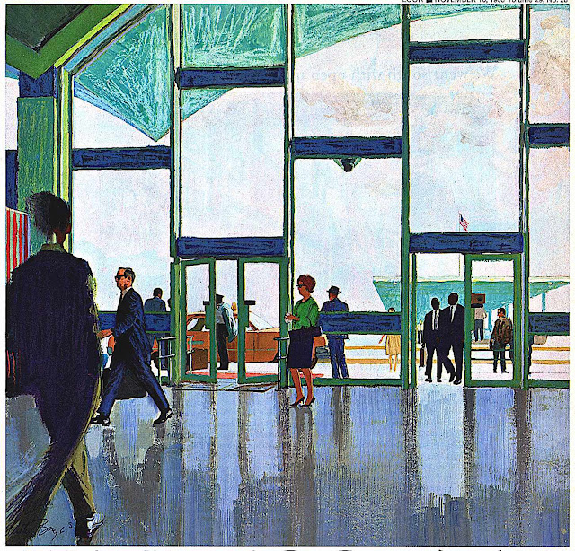 a 1965 Austin Briggs color illustration of a busy airport
