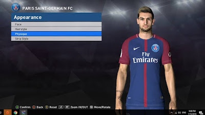 PES 2017 Face & Tattoo Javier Pastore by Facemaker Ahmed El Shenawy