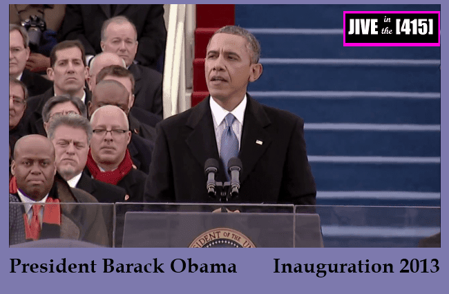 President Barack Obama delivers his inaugural address January 21, 2013
