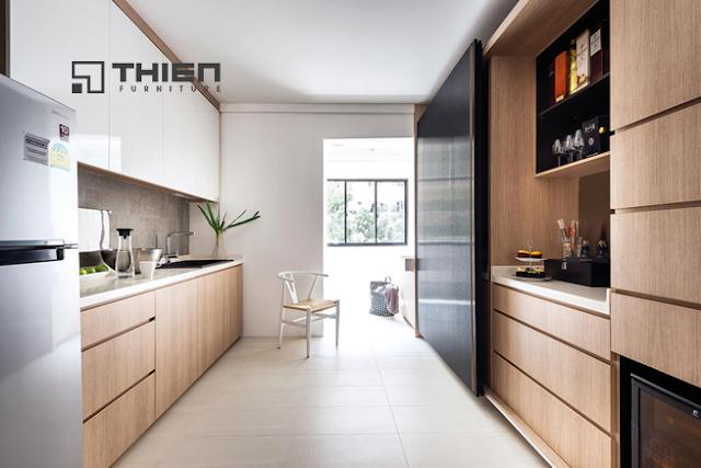 Mẫu tủ bếp Laminate kết hợp Acrylic