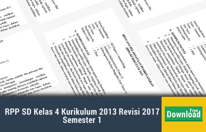 RPP SD Kelas 4 Kurikulum 2013 Revisi 2017 Semester 1