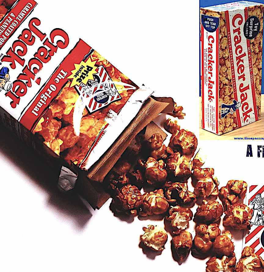 Cracker Jack caramel coated popcorn and peanuts, includes a toy in the box, a color advertisement