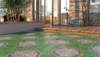 căn vườn mát mẻ mắt với gạch lát nền đẹp giả cỏ