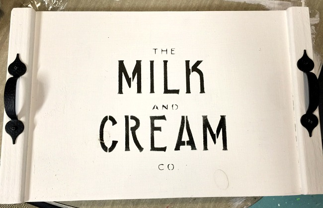 Rustic milk and cream stenciled tray.