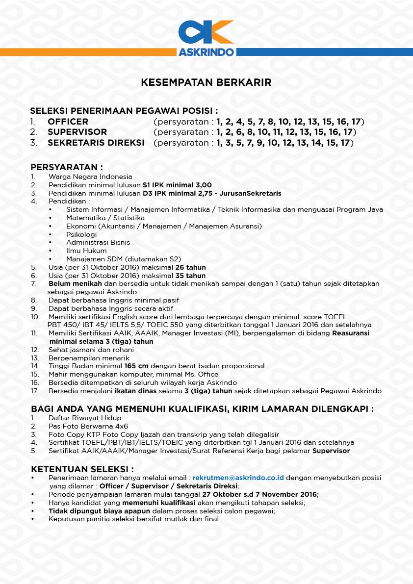 Penerimaan Pegawai BUMN PT. Askrindo (Persero) Tahun 2016