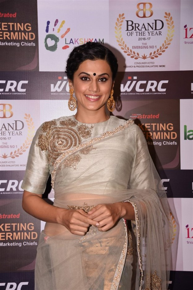 Hindi Actress Taapsee Pannu Stills In Designer Green Saree