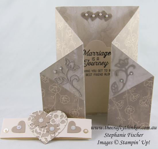 Double Gate Fold, Wedding Card, Bloomin' Heart, Flourishing Phrases Bundle, #thecraftythinker, Stampin Up Australia Demonstrator, Stephanie Fischer, Sydney NSW