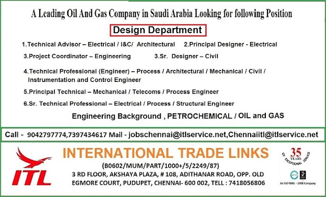 Technical Adviser, Saudi Arabia Jobs, Design Engineer, Project Coordinator, Process Engineer, Telecommunication Engineer, Structural Engineer, Instrumentation Engineer, Mechanical Engineer, Civil Engineer,