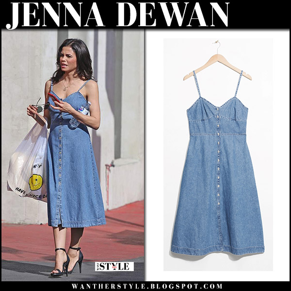 Jenna Dewan in blue denim midi dress and other stories street spring style april 7