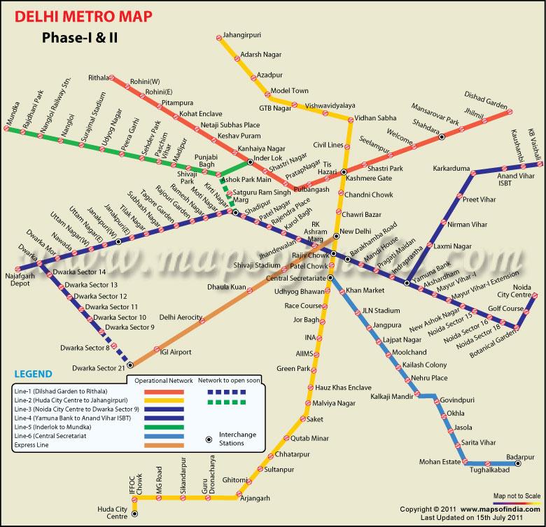 Delhi Metro Map 2011- Metro Rail Map For Delhi NCR