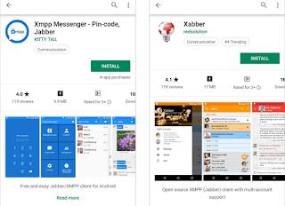 Aplikasi XMPP Messenger (kiri) dan Xabber (kanan)