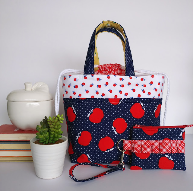 Teacher Lunch Bags featuring Sunnyside Ave fabrics featured by top US sewing blog, Ameroonie Designs