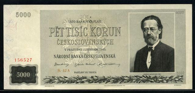 Czechoslovakia 5000 Czech Korun banknote currency pictures