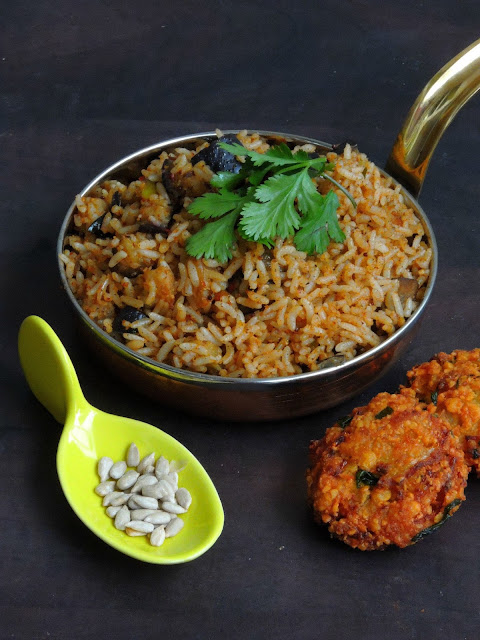 Eggplant Sunflower Seeds Podi Rice